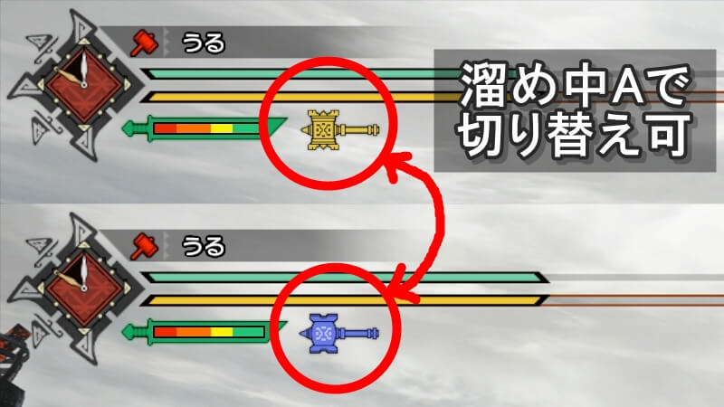 画像:ハンマーのスタイル切り替えは溜め中A