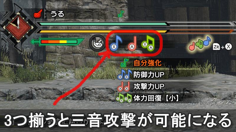画像:3つの音符が揃うと三音攻撃が可能になる